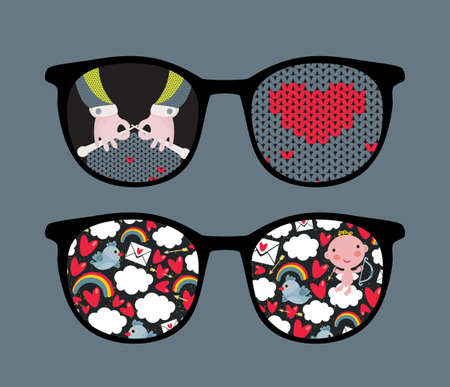 Retro eyeglasses with cute and romantic reflection in it   Vector