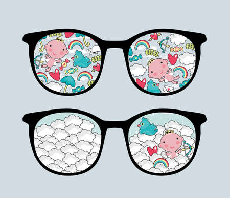 Retro eyeglasses with lovely reflection in it  Vector