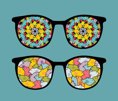 Retro eyeglasses with sweet birds reflection in it   Vector