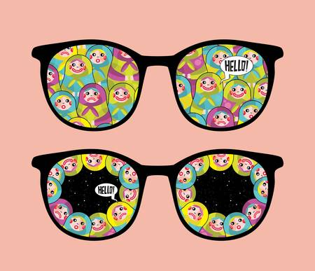 Retro eyeglasses with crazy dolls reflection in it   Vector