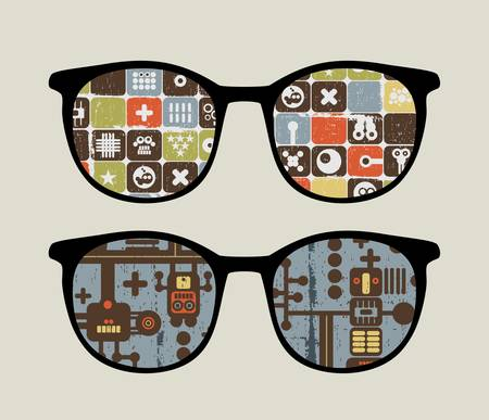 Retro sunglasses with cute robot patterns reflection in it.  Vector