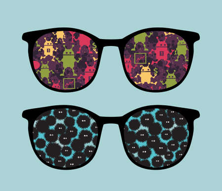 Retro sunglasses with strange creatures reflection in it.  Vector