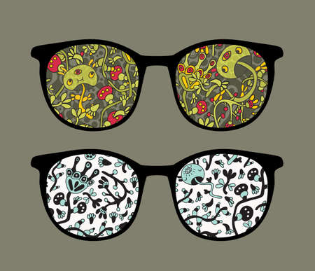 Retro sunglasses with doodle mushrooms reflection in it.  Vector