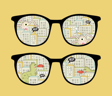 Retro sunglasses with monsters in the city reflection in it. Vector illustration of accessory - isolated eyeglasses. Vector