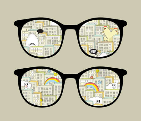 Retro sunglasses with city monsters reflection in it.  Illustration