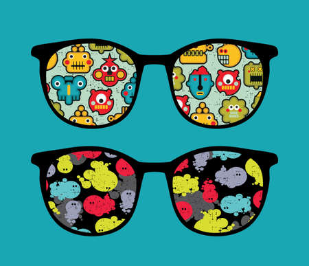 Retro sunglasses with robots and monsters reflection in it. Vector