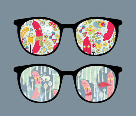 Retro sunglasses with food monsters reflection in it.  Vector