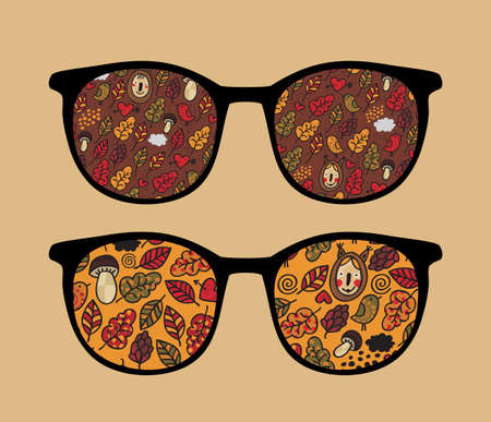 Retro sunglasses with autumn reflection in it. Vector