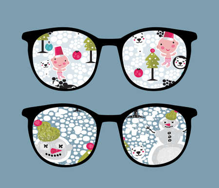 Retro sunglasses with snow in it.  Vector
