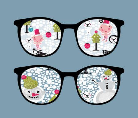 Retro sunglasses with snow in it.  Vector