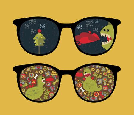 Retro sunglasses with cute dragon reflection in it.  Vector