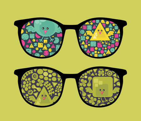 Retro sunglasses with geometric birds reflection in it.  Vector