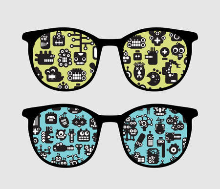 Retro sunglasses with robot faces reflection in it.  Vector