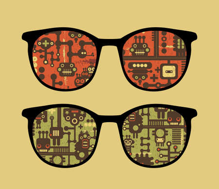 Retro sunglasses with robot pattern reflection in it.  Vector