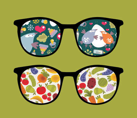 Retro sunglasses with birds and plants reflection in it.  Vector