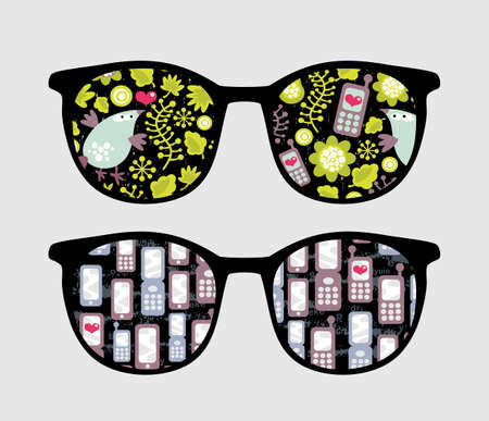 Retro sunglasses with mobile phones reflection in it.  Vector