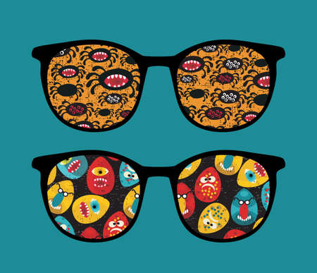 Retro sunglasses with cool monsters reflection in it.  Vector