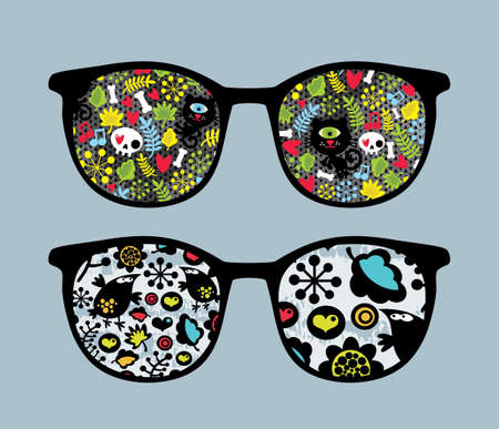 Retro sunglasses with cats and birds reflection in it. Vector