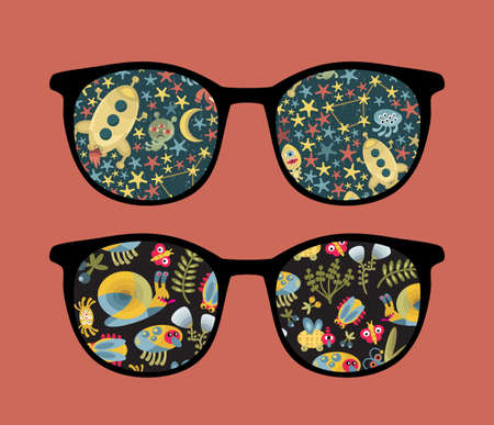 meteorites: Retro sunglasses with space and insects reflection in it.