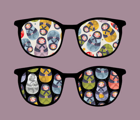 Retro sunglasses with ugly dolls reflection in it.  Vector