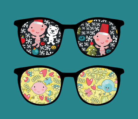 Retro sunglasses with cute child reflection in it. Vector