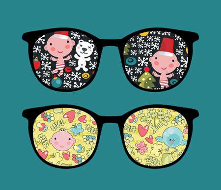 Retro sunglasses with cute child reflection in it. Stock Vector - 13107798