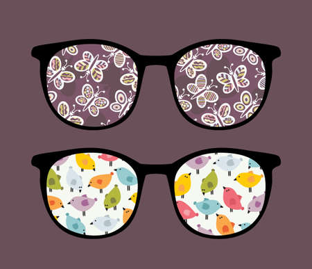 Retro sunglasses with butterflies and birds reflection in it. Vector