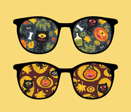 Retro sunglasses with halloween party reflection in it.  Vector