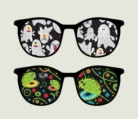 Retro sunglasses with ghosts and monsters reflection in it.  Vector