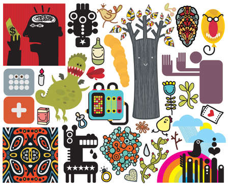 Mix of different vector images and icons. vol.47