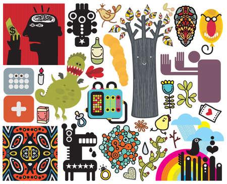 Mix van verschillende vector afbeeldingen en pictogrammen. vol.47 Stock Illustratie