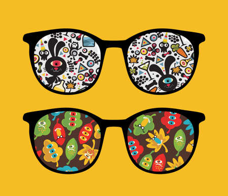 Retro sunglasses with strange monsters reflection in it.  Vector