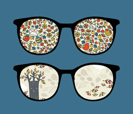 Retro sunglasses with seasons nature reflection in it.  Vector