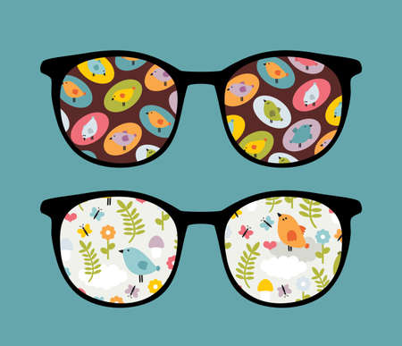 sunglasses reflection: Retro sunglasses with lovely birds reflection in it.  Illustration