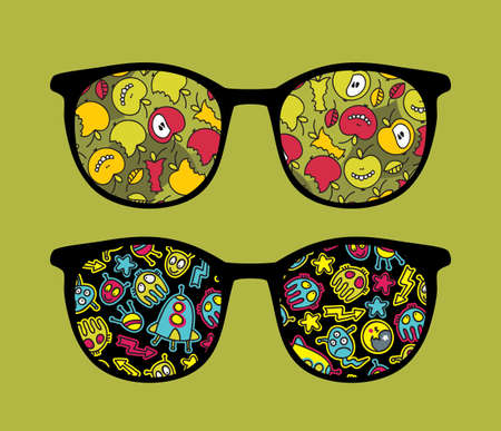 Retro sunglasses with apples and space monsters reflection in it   Vector