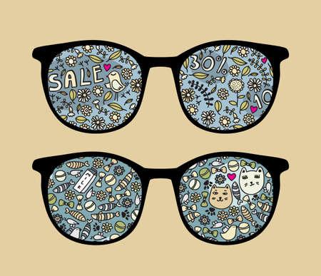 Retro zonnebrillen met vogels en verkoop reflectie in het Stock Illustratie