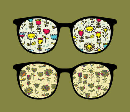 Retro sunglasses with happy flowers reflection in it. Stock Vector - 13167712