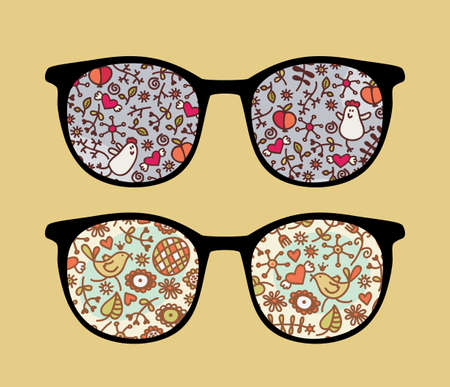 Retro sunglasses with birds and flora reflection in it.  Vector