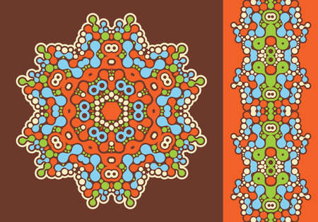 Decoration ring and psychedelic seamless pattern in orange  Vector