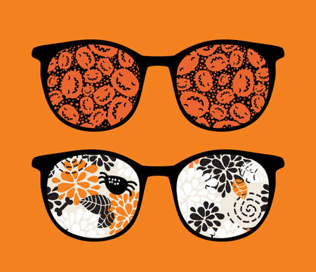 Retro sunglasses with pumpkins reflection in it.  Vector