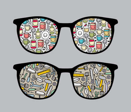 sunglasses reflection: Retro sunglasses with funny dishes and tools reflection in it.  Illustration