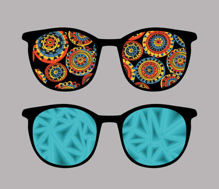 sunglasses isolated: Retro sunglasses with abstract and strange reflection in it.