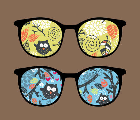 Retro sunglasses with owl on the tree reflection in it. Vector