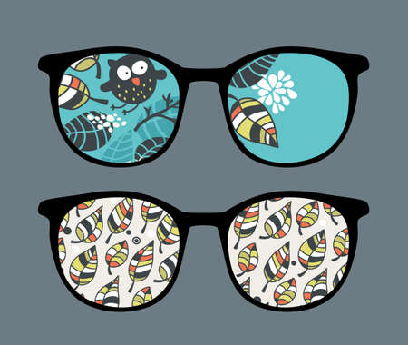 Retro sunglasses with owl in leaves reflection in it.  Vector