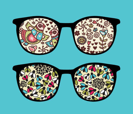Retro sunglasses with flies and birds reflection in it.  Vector