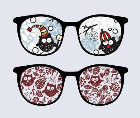 palle di neve: Occhiali da sole Retro con la riflessione inverno gufi in esso. Vettoriali