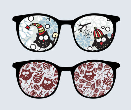 Retro sunglasses with winter owls reflection in it.  Vector