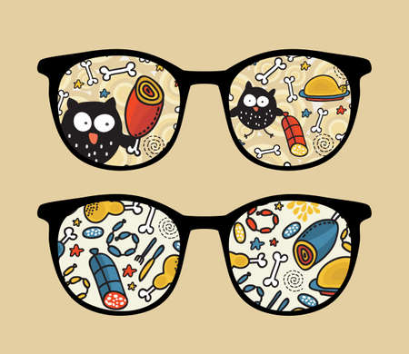 Retro sunglasses with owl and meat reflection in it.  Vector
