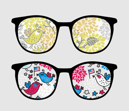 Retro sunglasses with patriotic birds reflection in it.  Vector