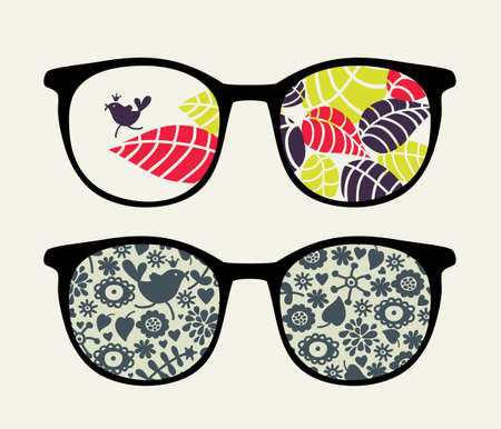 Retro sunglasses with small bird reflection in it.  Vector